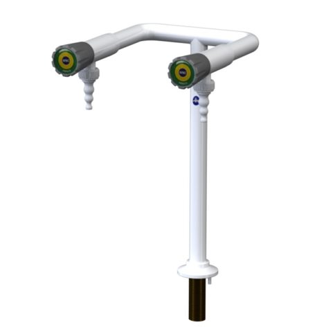 A 2 way laboratory pillar bib tap with removable nozzles