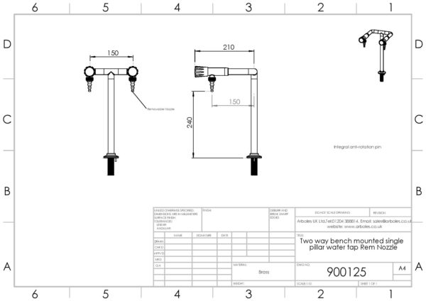 Arboles UK - 900125 - Two Way Laboratory Pillar Bib Tap
