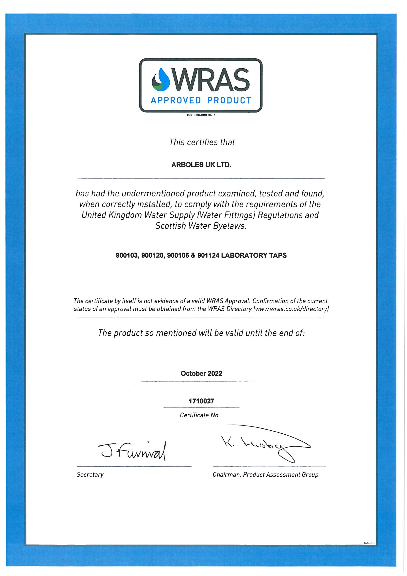 WRAS Components Certificate