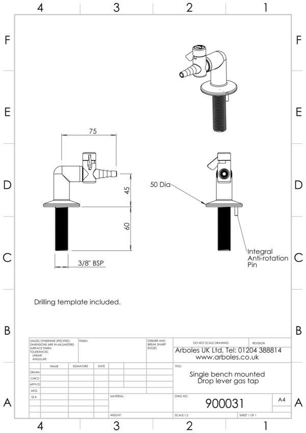 Arboles UK - 900031 - 1 Way Gas Tap