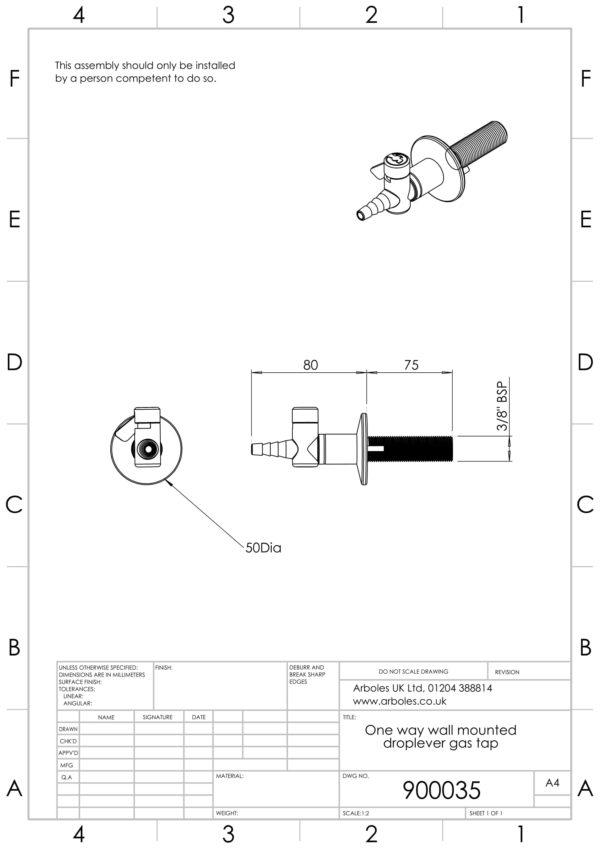 Arboles UK - 900035 - 1 Way Wall Mounted Gas Tap