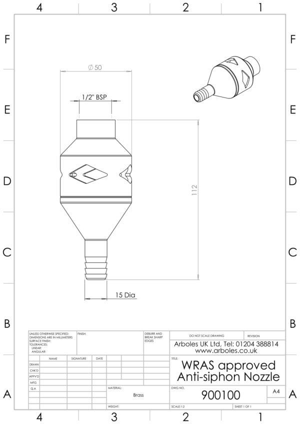 Arboles UK - 900100 - Anti Siphon Nozzle-1