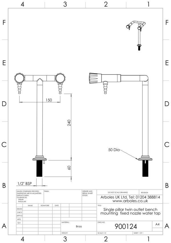 Arboles UK - 900124 - Laboratory Pillar Bib Tap