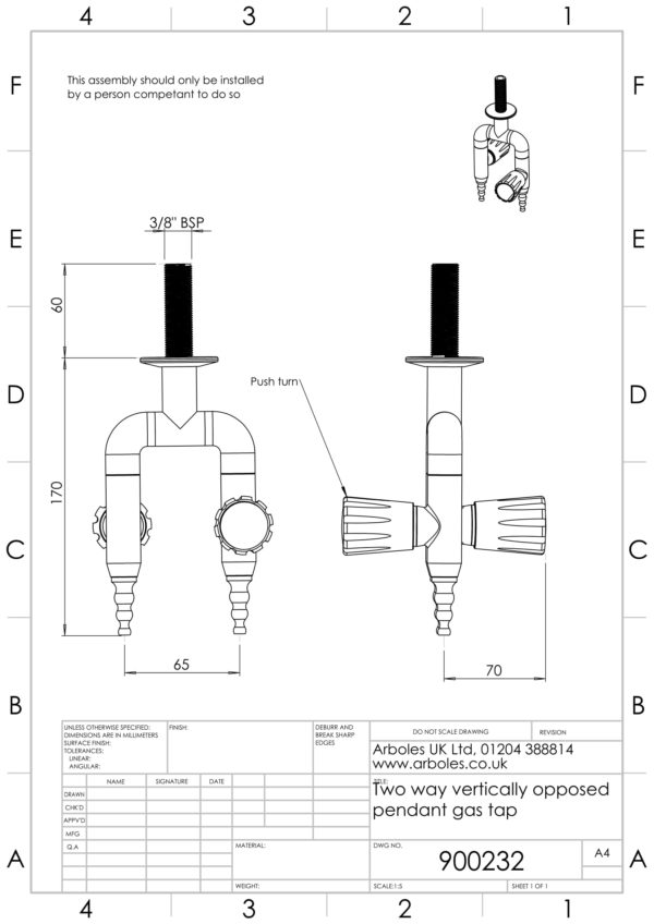 Arboles UK - 900232 - Laboratory Pendant Gas Tap
