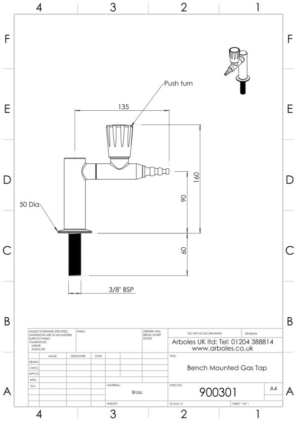 Arboles UK 900301 Bench Mounting Gas Tap 1