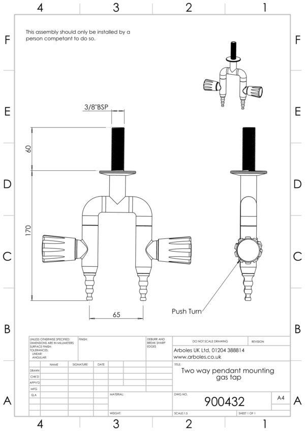 Arboles UK - 900432 - Laboratory Pendant Gas Tap