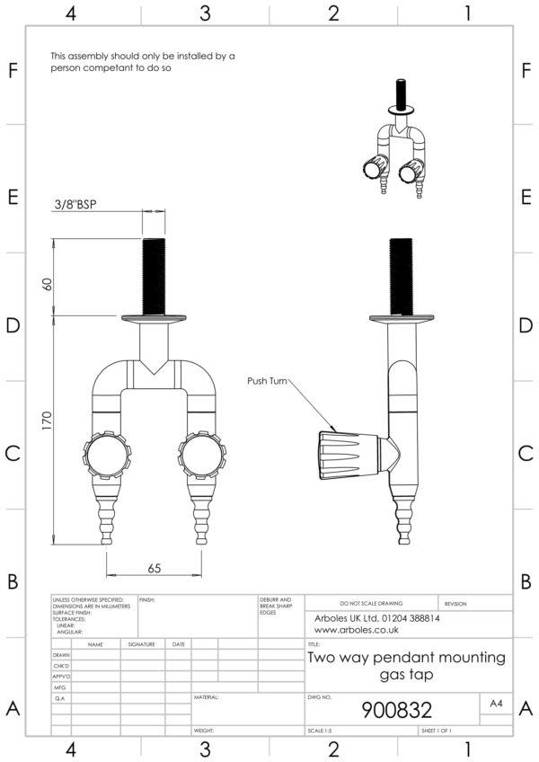 Arboles UK - 900832 - Laboratory Pendant Gas Tap