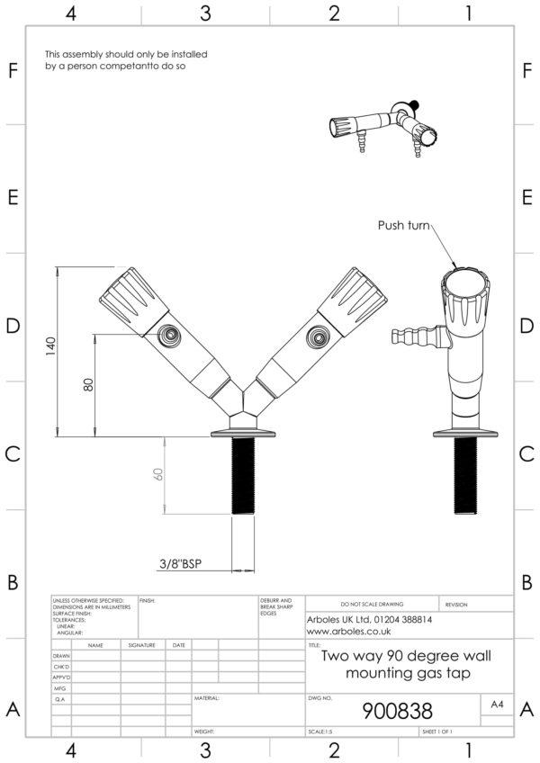 Arboles UK - 900838 - Laboratory Gas Tap