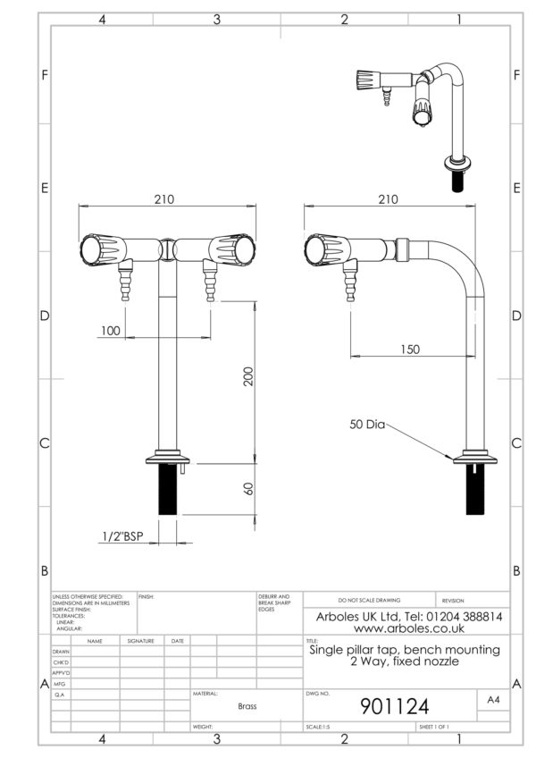 Arboles UK - 901124 - Laboratory 2 Way Pillar Bib Tap
