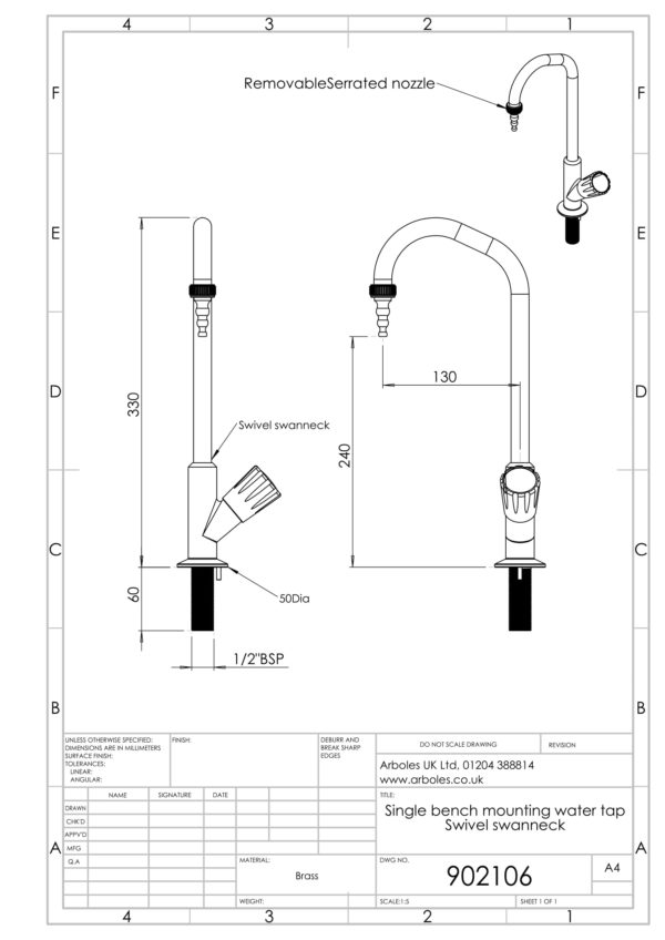 Arboles UK - 902106 - Laboratory Water Tap