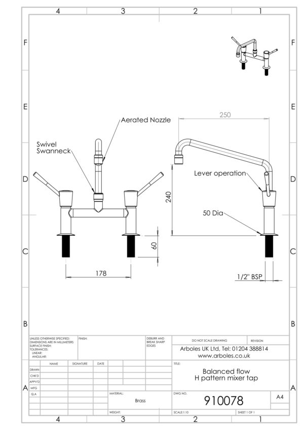 Arboles UK - 910078 - H Pattern Laboratory Water Tap