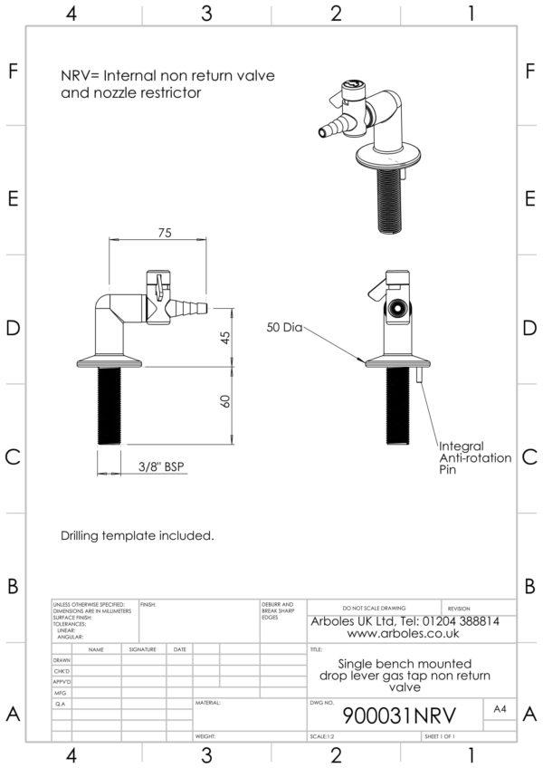Arboles UK - Bench mountrd drop lever gas tap 900031NRV