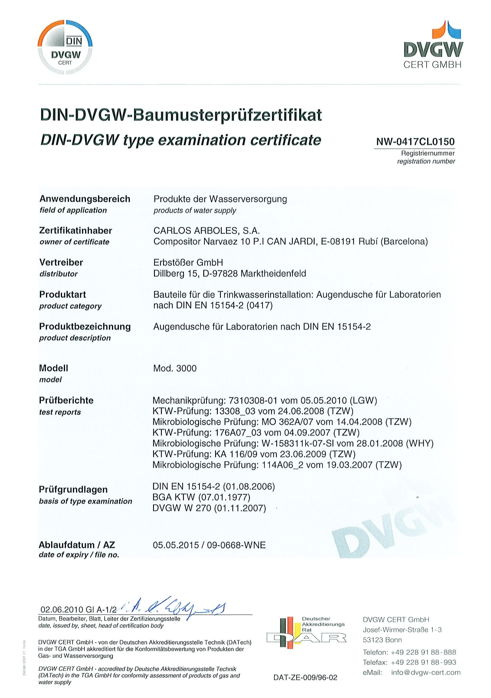 DVGW - Model 3000 Eyewash