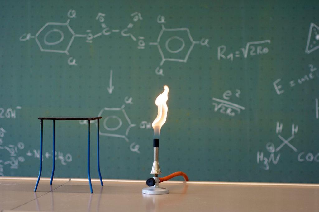 Bunsen burner in a lab