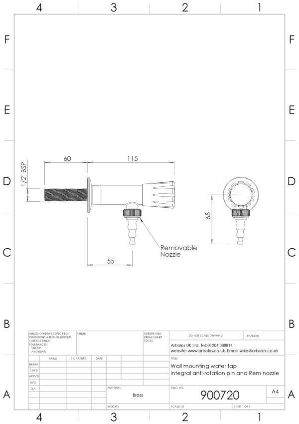 Arboles UK - 900720 - Wall Mounted Water Tap
