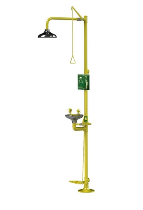 An emergency drench shower from Arboles UK featuring an eyewash. Treadle, push lever and pull rod operated with a stainless steel shower head and stainless steel eyewash bowl