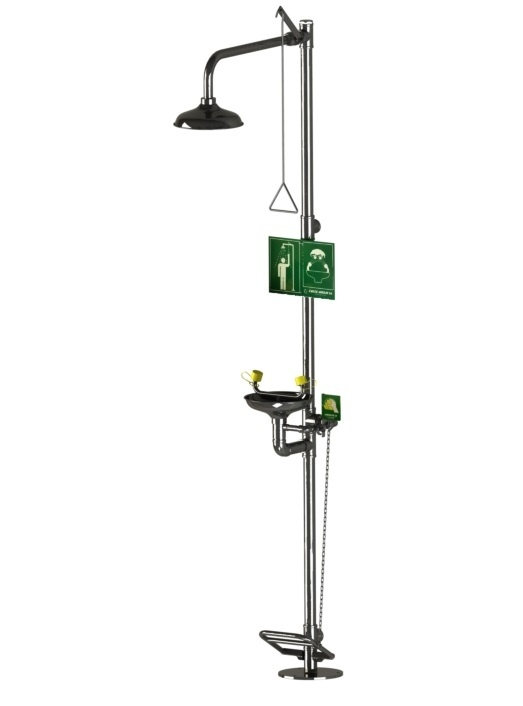 Stainless Steel Floor Mounted Drench Shower with Treadle Operated Eyewash