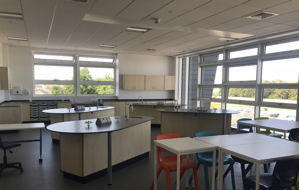 A school laboratory featuring science taps. Laboratory gas taps and water taps are the key components to any laboratory fit out.
