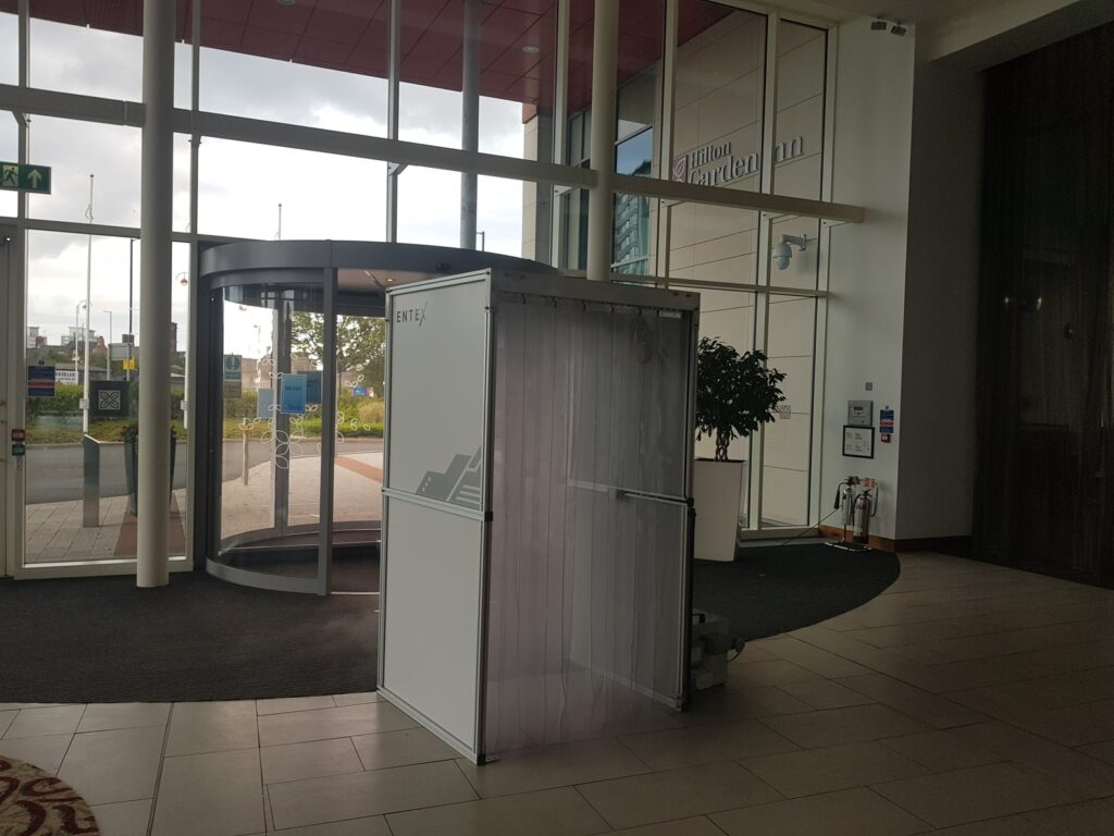 A decontamination booth placed in a Hilton Hotel to help prevent the spread of COVID-19 and keep staff and custoers safe