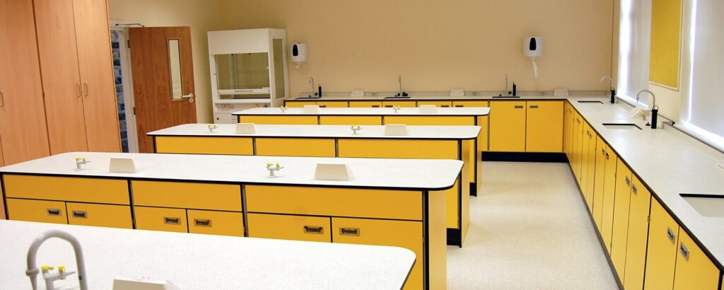 A finished school laboratory featuring science taps from Arboles UK.