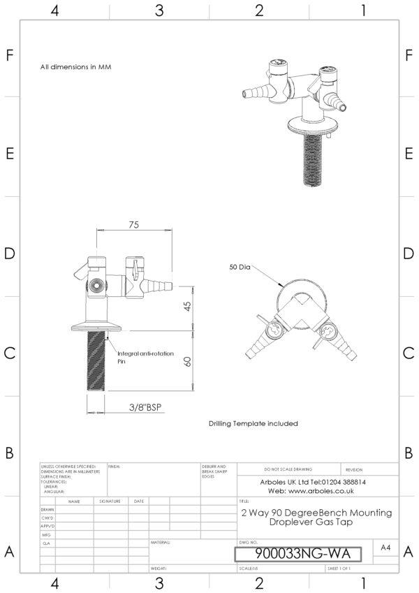 Arboles UK - 900033 - 2 Way Laboratory Gas Tap