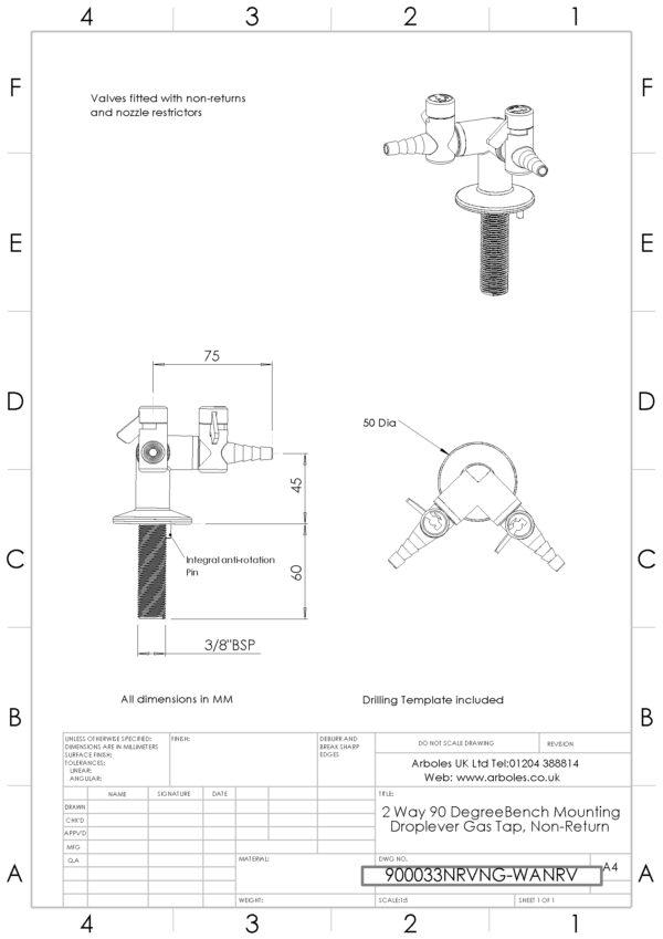 Arboles UK - 900033NRV - 2 Way Laboratory Gas Tap with NRV