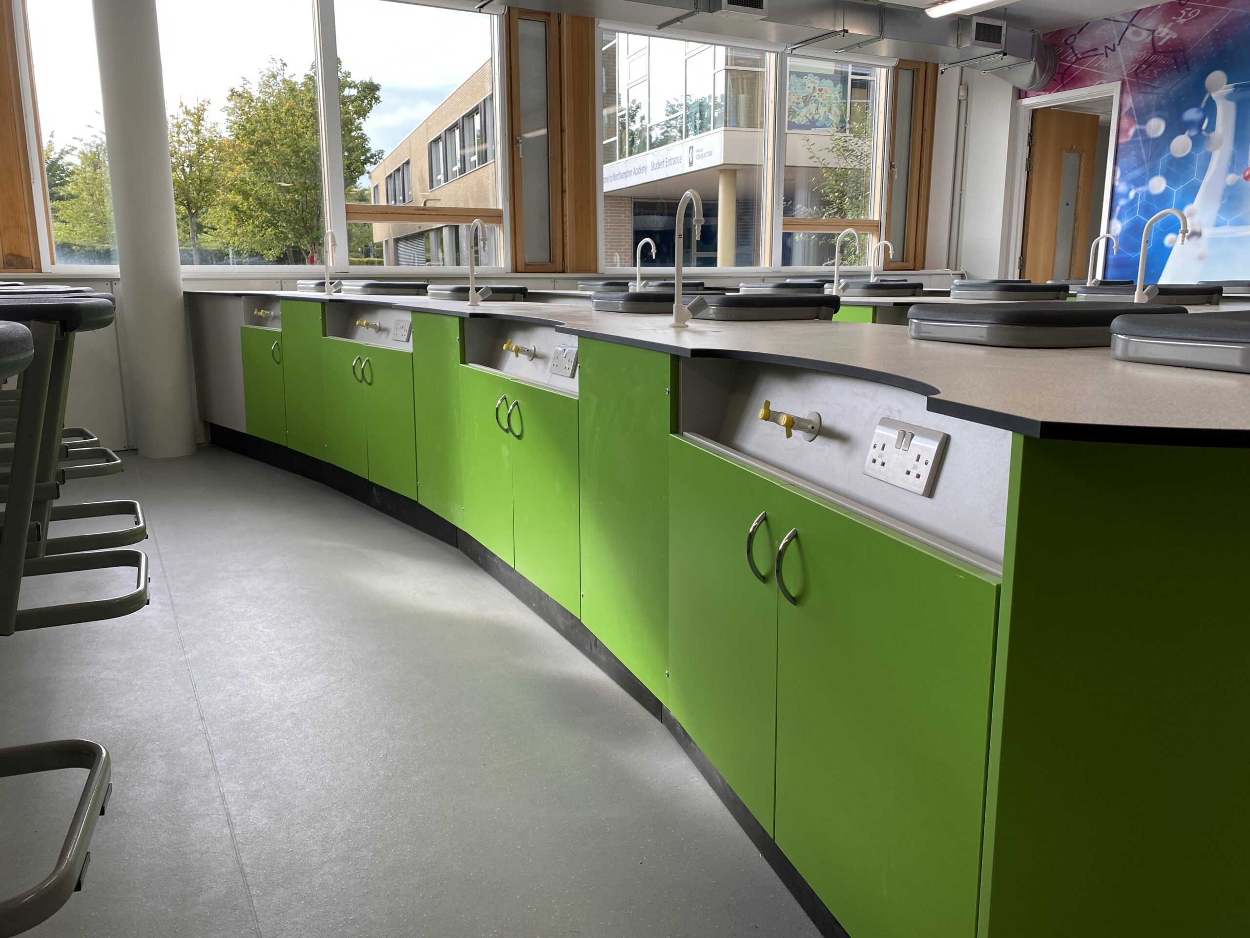 A school laboratory featuring science taps from Arboles UK